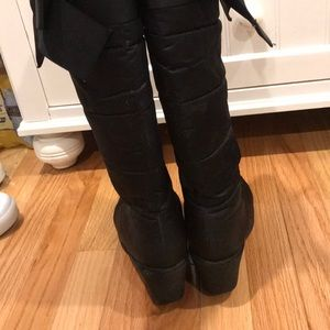 kate spade Shoes - Kate Spade Cagney Satin Black Wedge Bow Boots
